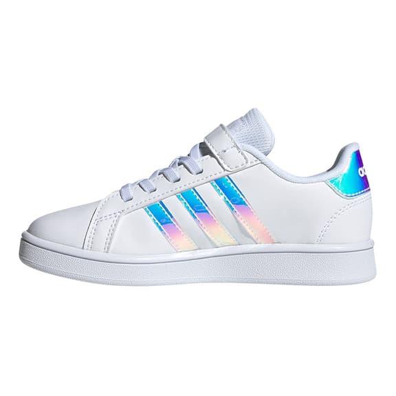 Chaussures adidas Grand Court à scratch et lacets blanc bleu enfant