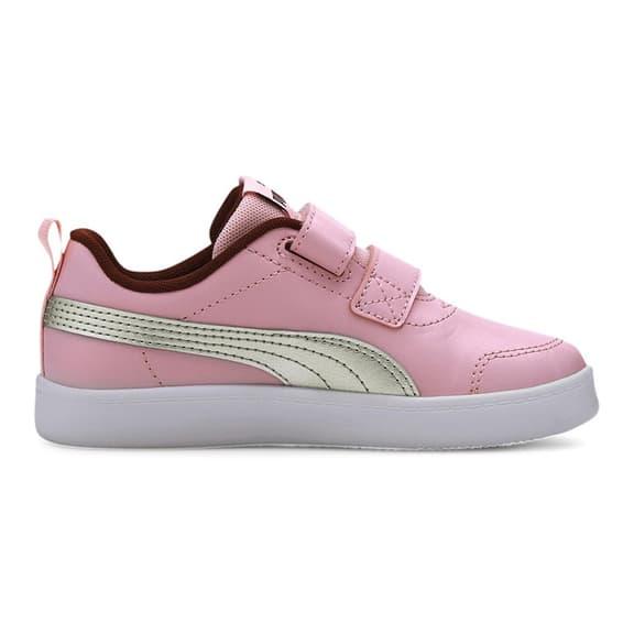 Chaussures Puma Courtflex v2 à scratch rose argenté blanc enfant